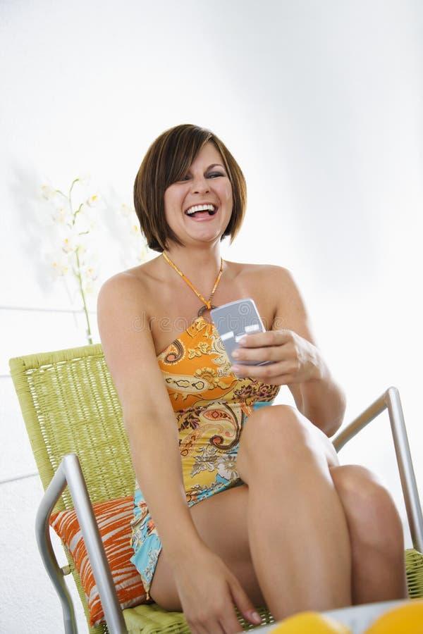 Donna con PDA. immagini stock