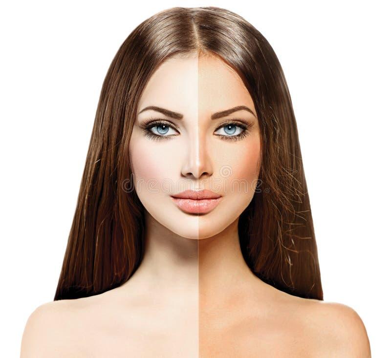 Donna con pelle abbronzata prima e dopo l'abbronzatura immagine stock libera da diritti