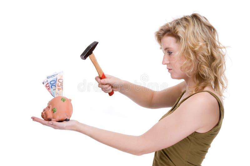 Donna con piggybank immagini stock