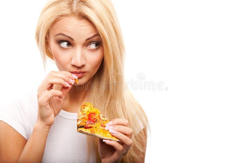 Donna con pizza fotografia stock