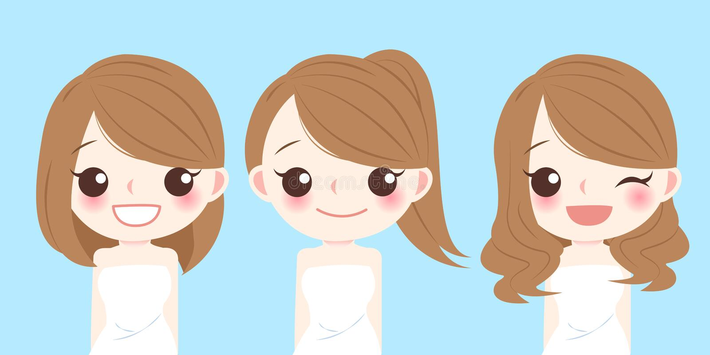 Donna con stile di capelli differente illustrazione di stock