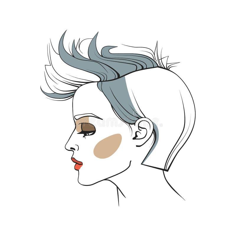 Donna con taglio di capelli d'avanguardia Fronte astratto Illustrazione di modo Illustrazione di vettore fotografia stock