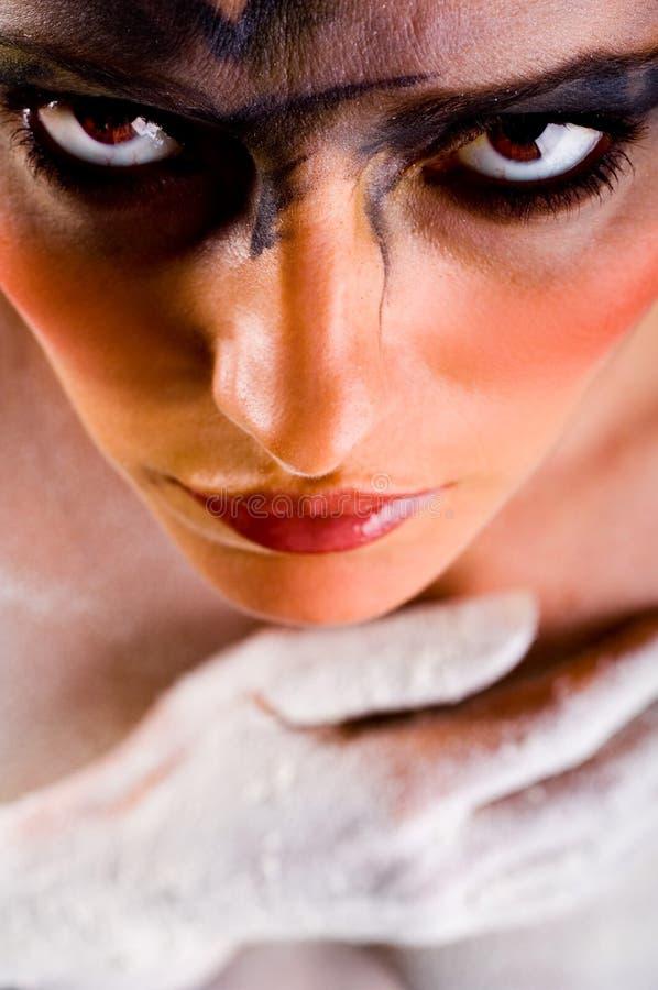 Donna con trucco spaventoso fotografie stock libere da diritti