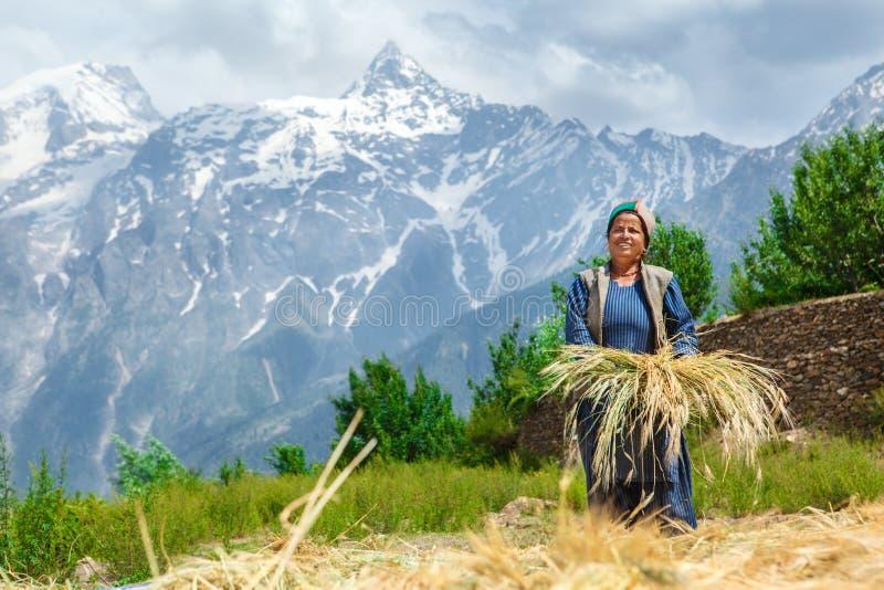 Donna con un mazzo di grano immagini stock