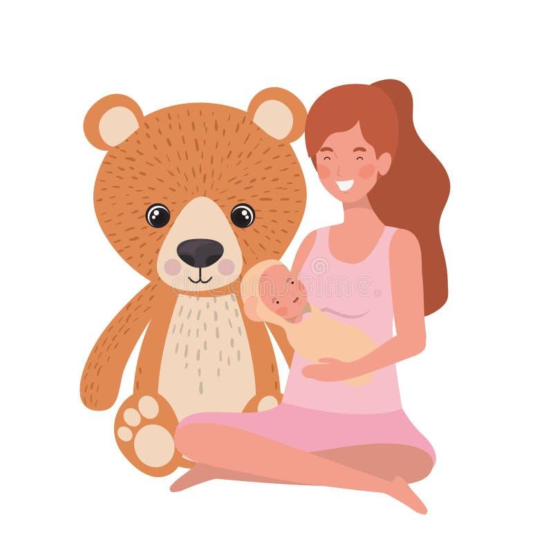 Donna con un neonato nelle sue armi illustrazione di stock