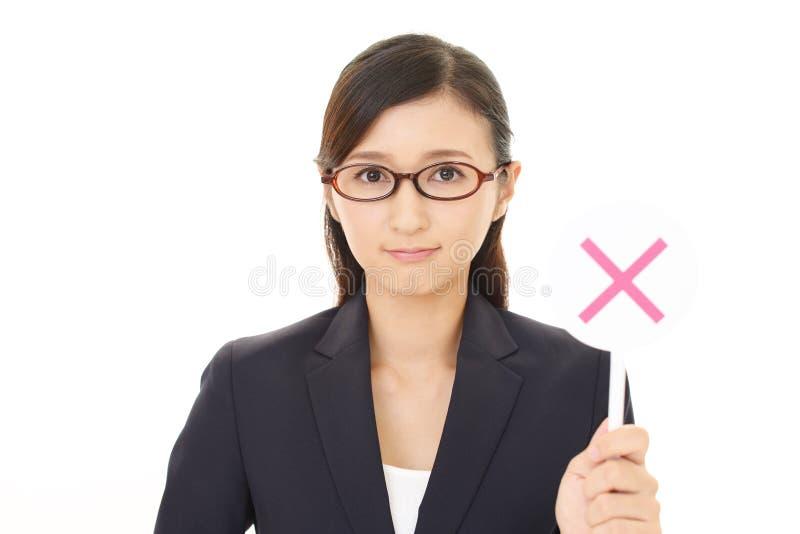 Donna con un nessun segno fotografia stock libera da diritti