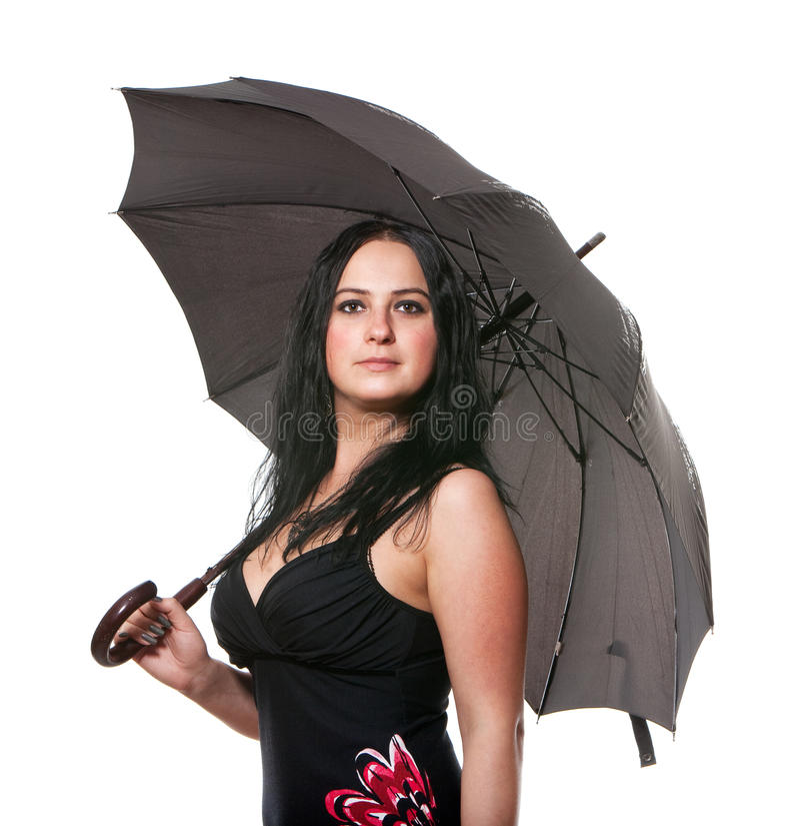 Donna con un ombrello immagini stock libere da diritti