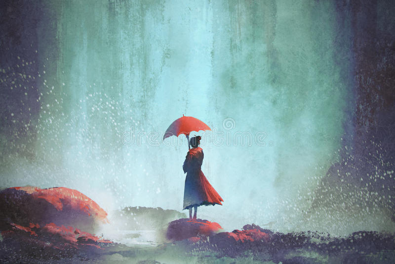 Donna con un ombrello che sta contro la cascata illustrazione vettoriale
