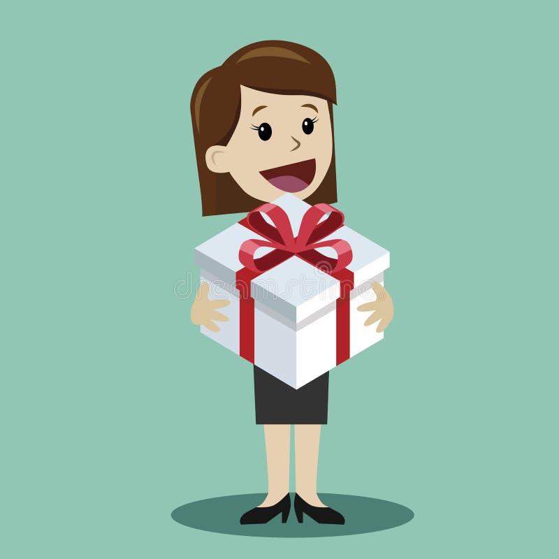 Donna con un regalo Giorno felice di Valentains Giornata internazionale della donna felice dell'8 marzo Regalo di Birhday Element illustrazione di stock