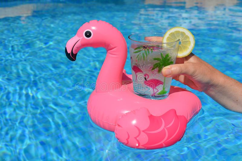Donna con una bevanda nello stagno fotografia stock