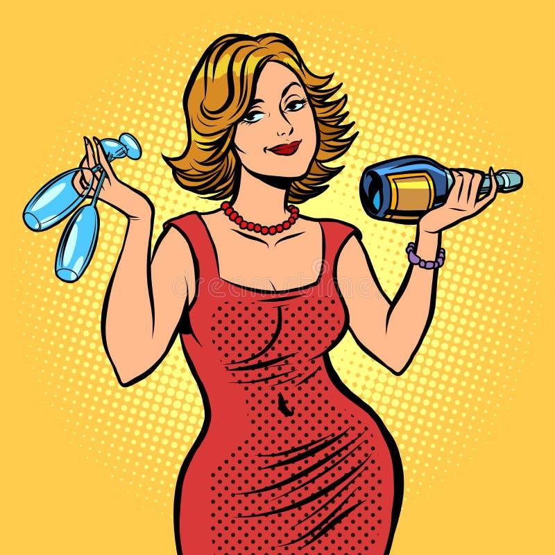 Donna con una bottiglia di vino illustrazione vettoriale