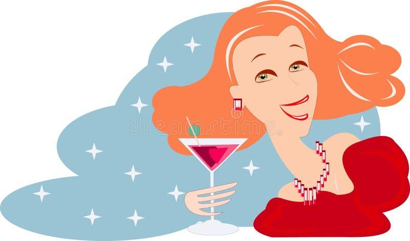 Donna con vino royalty illustrazione gratis