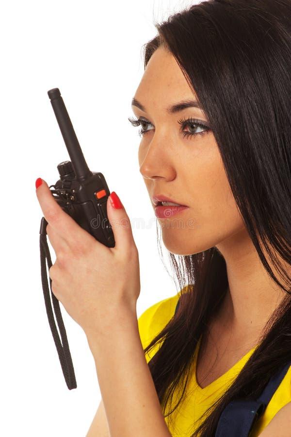 Donna con walkie-talky immagini stock