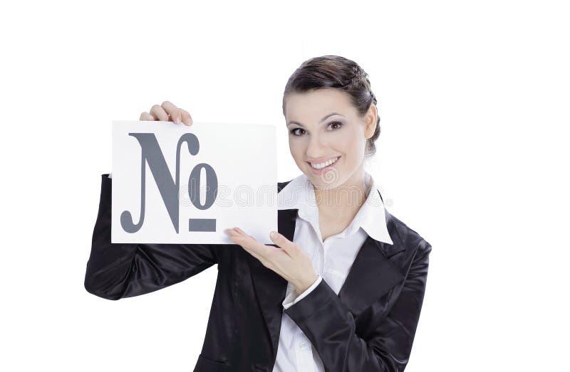 Donna confusa di affari che mostra i numeri di simbolo Isolato su bianco fotografie stock