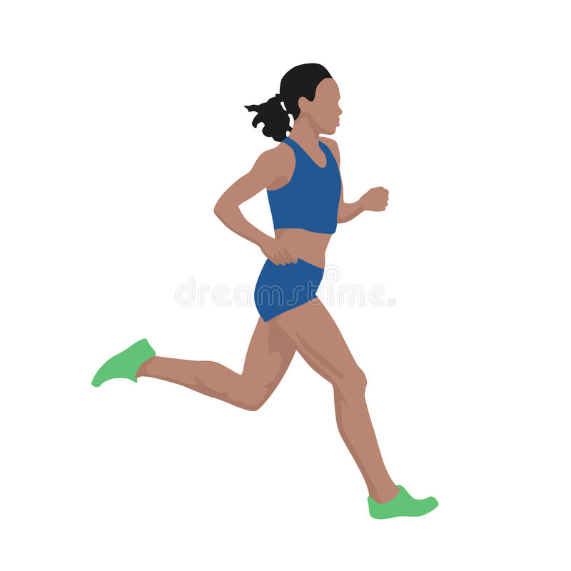 Donna corrente in jersey blu, illustrazione di vettore illustrazione vettoriale