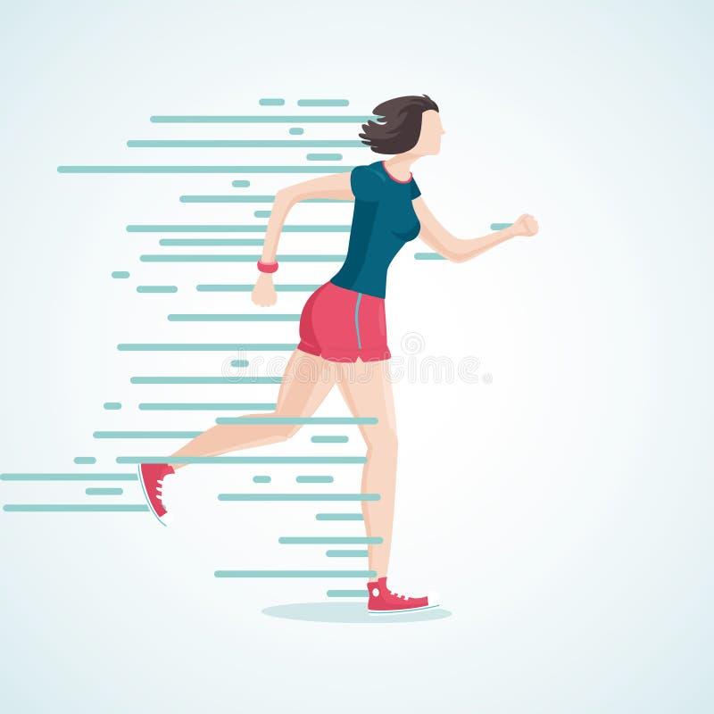 Donna corrente La donna in fuga Sportivo del fumetto illustrazione di stock