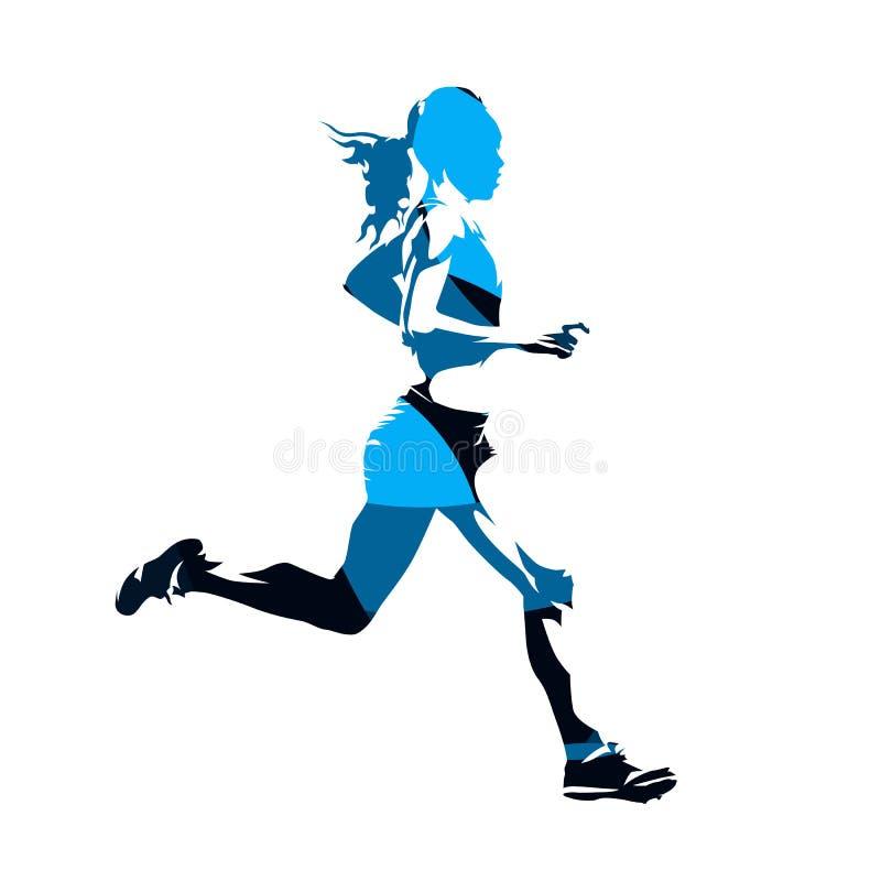Donna corrente, siluetta blu astratta di vettore royalty illustrazione gratis
