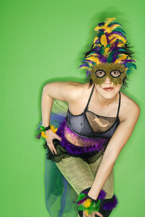Donna in costume di Mardi Gras. fotografia stock