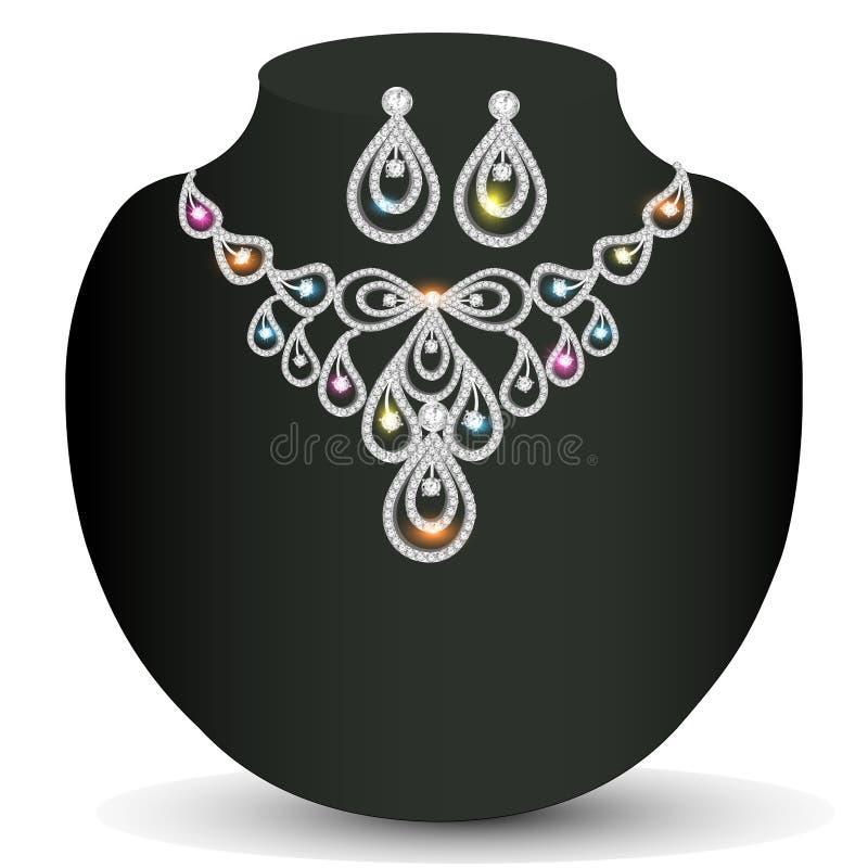 Donna d'argento brillante della collana con le pietre preziose illustrazione vettoriale