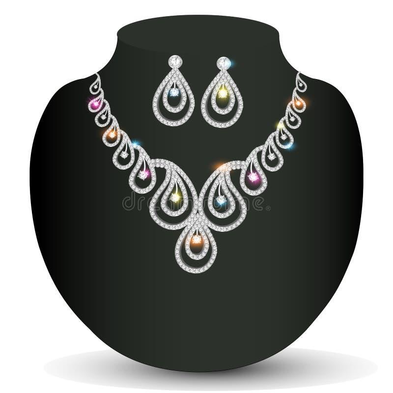 Donna d'argento della collana con le pietre preziose royalty illustrazione gratis