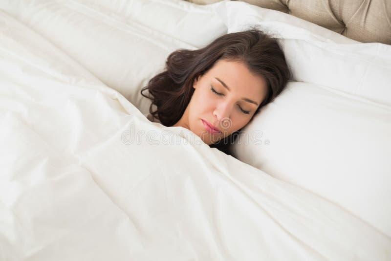 Donna dai capelli abbastanza marrone pacifica che dorme nel suo letto fotografia stock libera da diritti