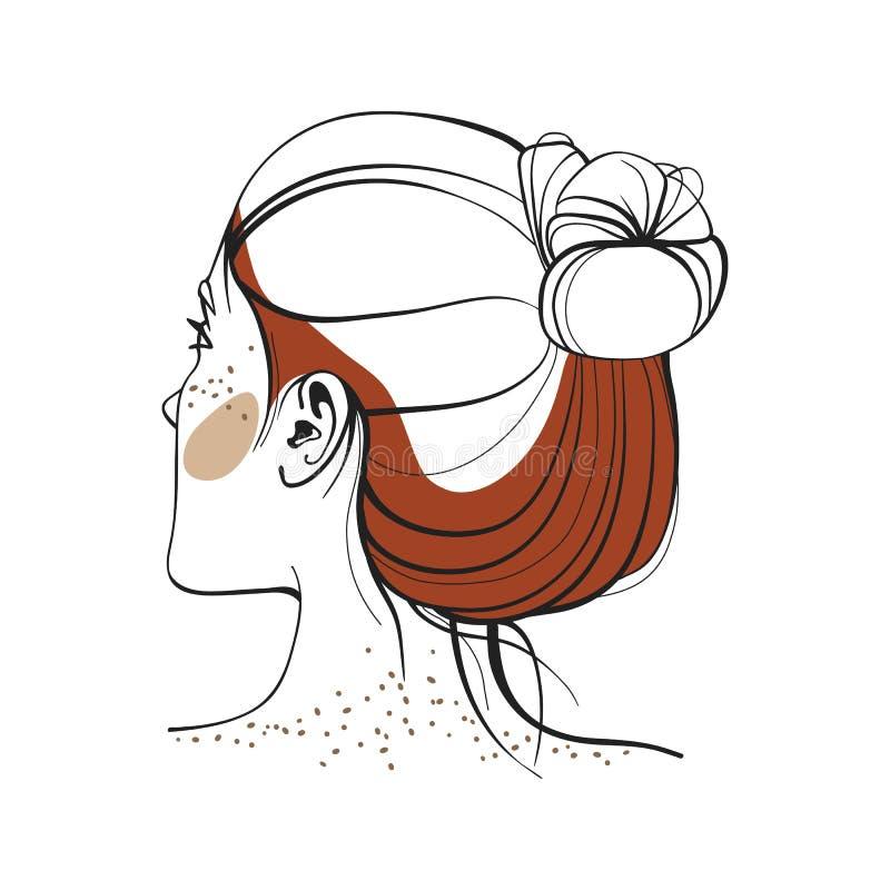 Donna dai capelli rossi con le lentiggini Vista dalla parte posteriore Fronte astratto Illustrazione di modo Illustrazione di vet immagini stock