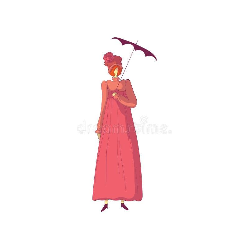 Donna dai capelli rossi in un vestito rosa antiquato ed in un cappello con una rosa Illustrazione di vettore su priorit? bassa bi illustrazione vettoriale