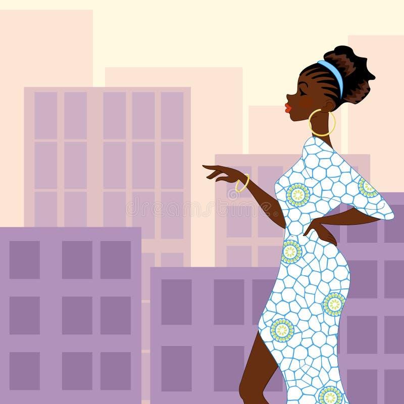 Donna dalla carnagione scura nella città illustrazione vettoriale