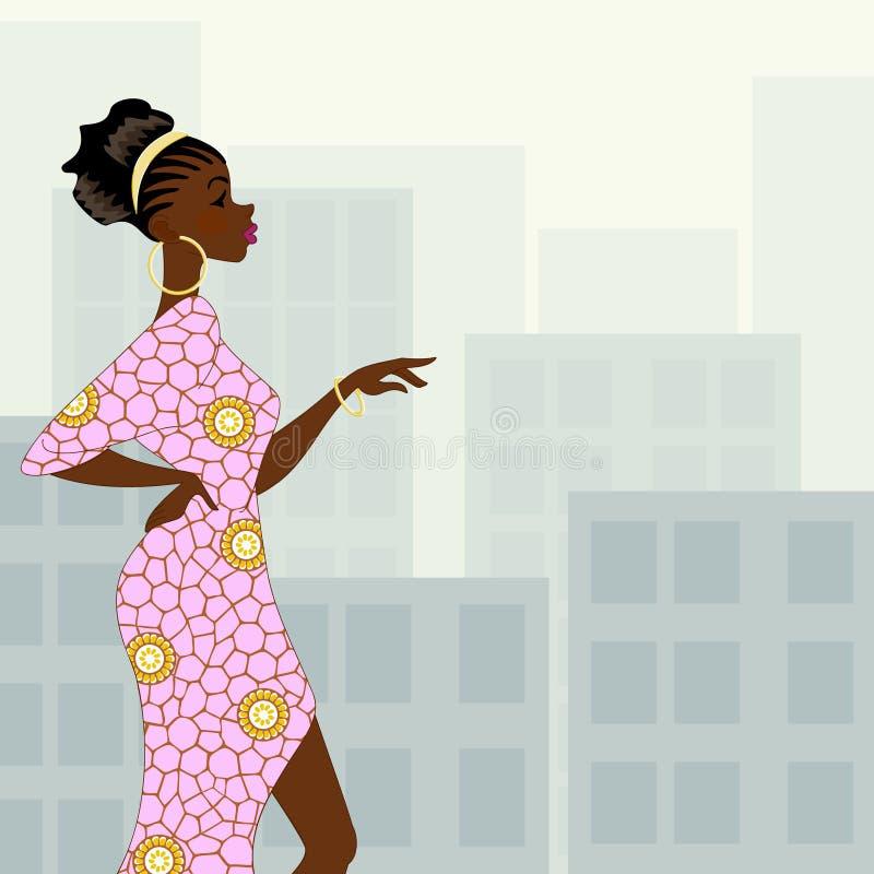 Donna dalla carnagione scura nella città illustrazione di stock