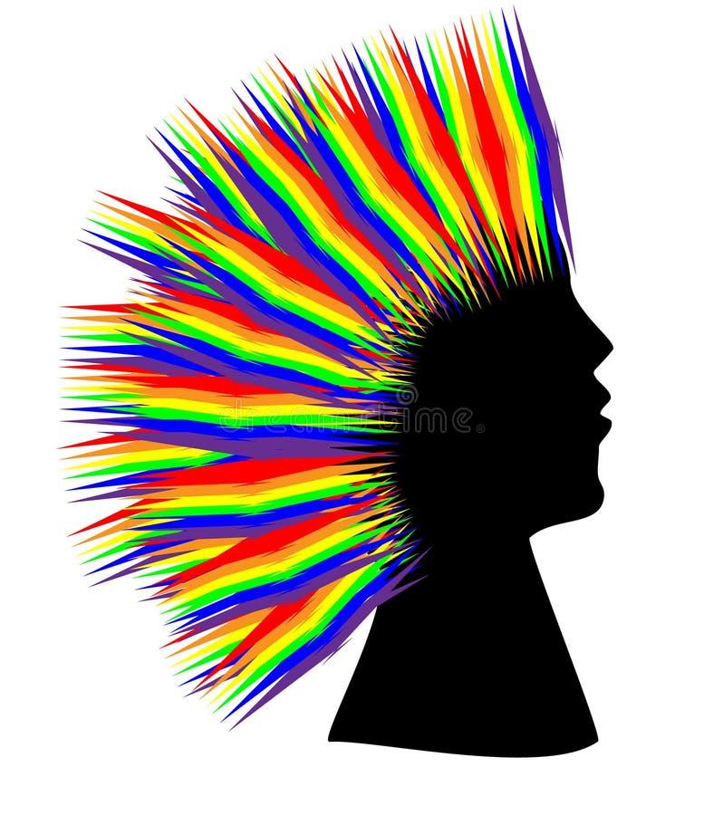 Donna dei capelli dell'arcobaleno immagini stock