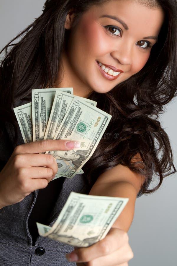 Donna dei soldi fotografie stock