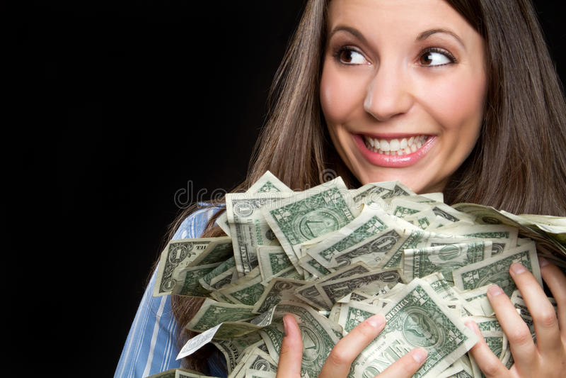 Donna dei soldi immagine stock