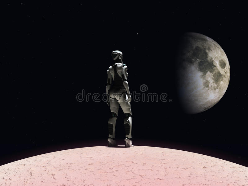 Donna del Android che guarda nello spazio. royalty illustrazione gratis