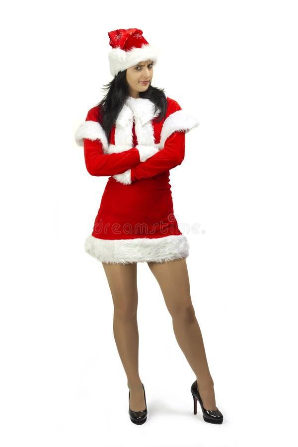 Donna del Babbo Natale con le braccia attraversate fotografie stock