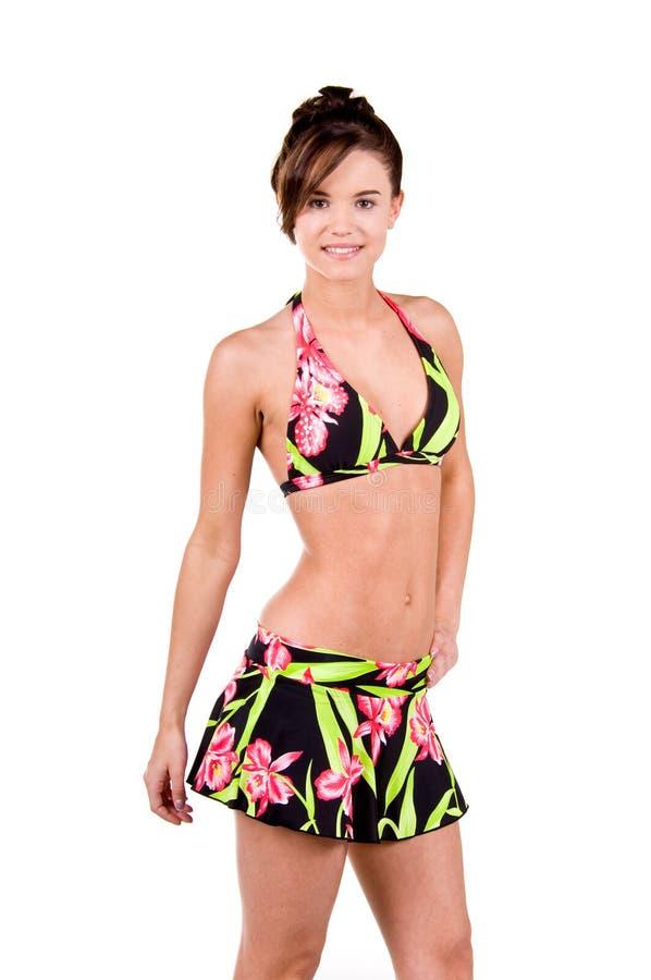 Download Donna Del Brunette In Un Bikini Fotografia Stock - Immagine di modello, standing: 7308006