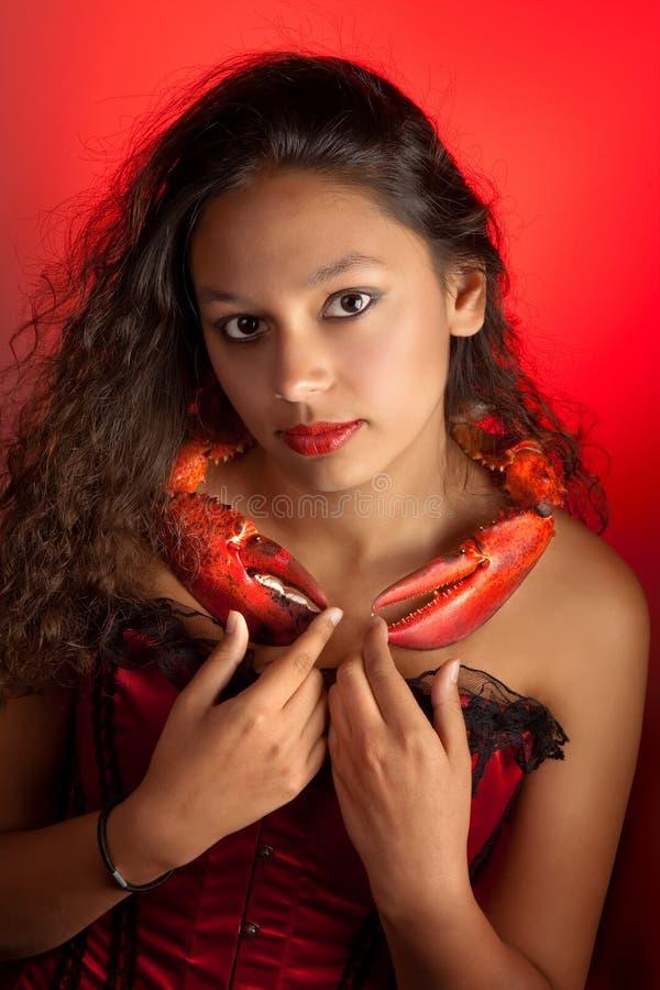 Donna del cancro dello zodiaco fotografia stock libera da diritti