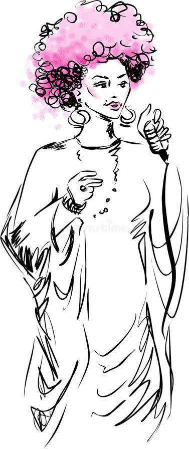 Donna del cantante di jazz illustrazione vettoriale