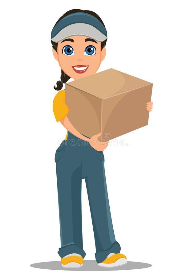 Donna del corriere che sta con il pacchetto Consegna veloce professionale illustrazione vettoriale