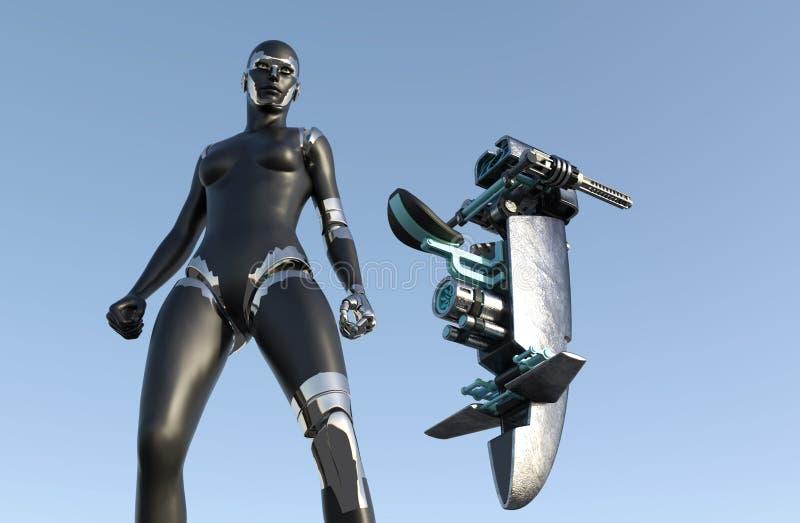 Donna del cyborg - umanoide con il veicolo di fantascienza illustrazione di stock