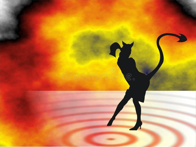 Donna del diavolo nell'inferno illustrazione vettoriale