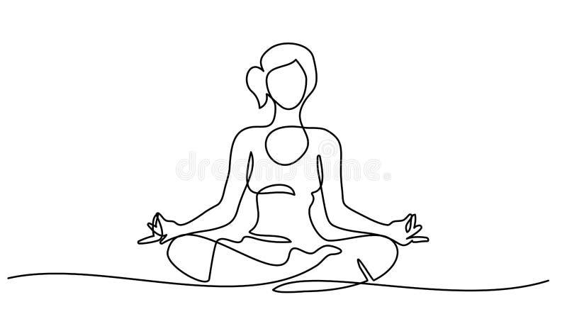 Donna del disegno a tratteggio che si siede meditare fornito di gambe trasversale royalty illustrazione gratis