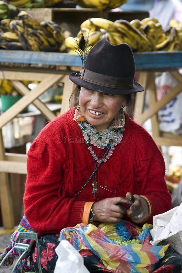 Donna del Ecuadorian - Saquisili nell'Ecuador immagine stock libera da diritti