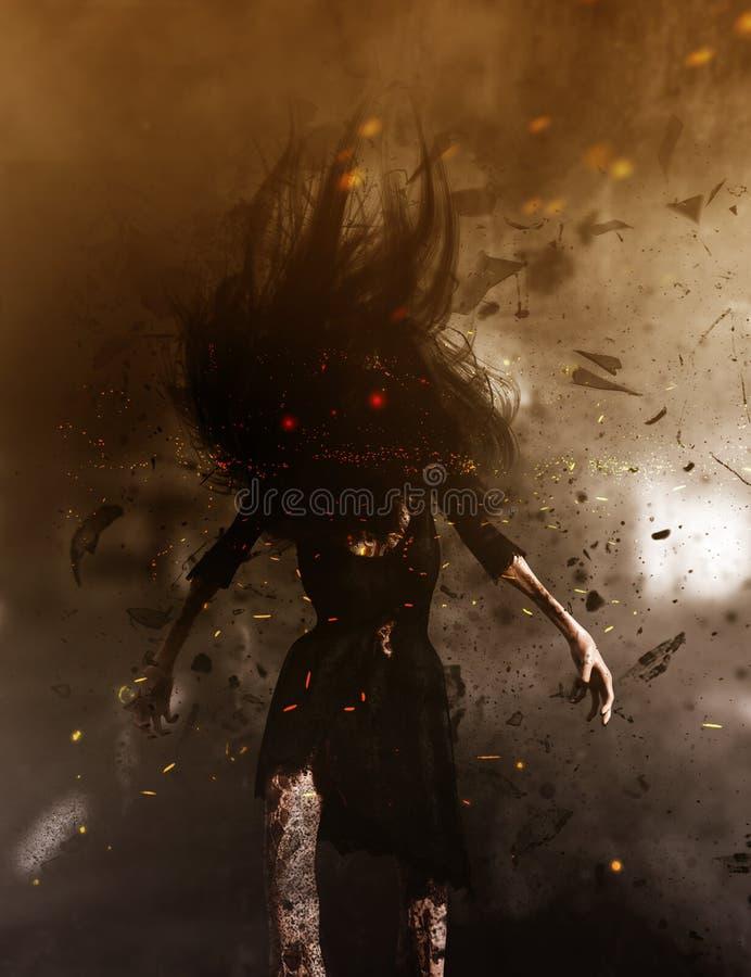 Donna del fantasma nel legno illustrazione vettoriale
