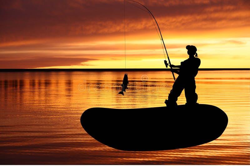 Donna del Fisher in un peschereccio con i fis di cattura illustrazione di stock