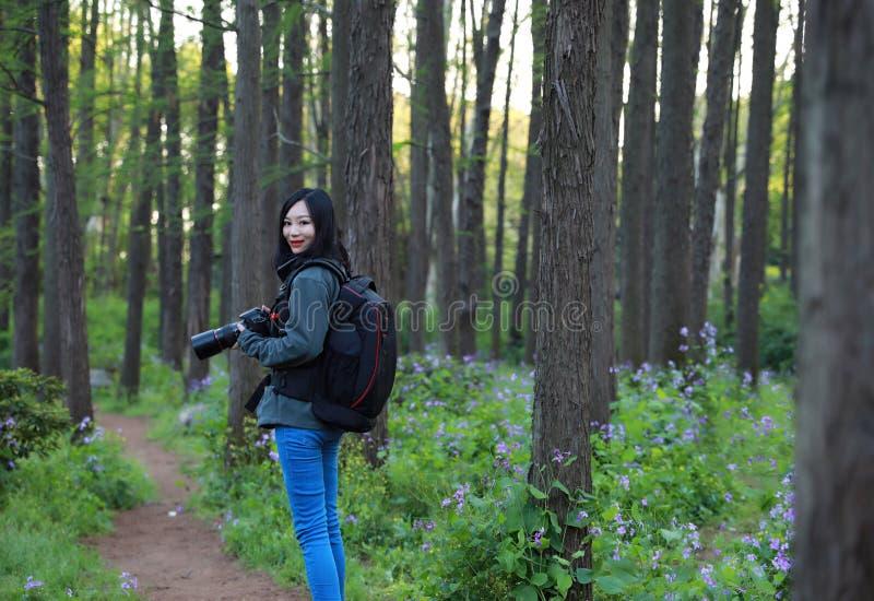 Donna del fotografo di viaggio della natura fotografia stock