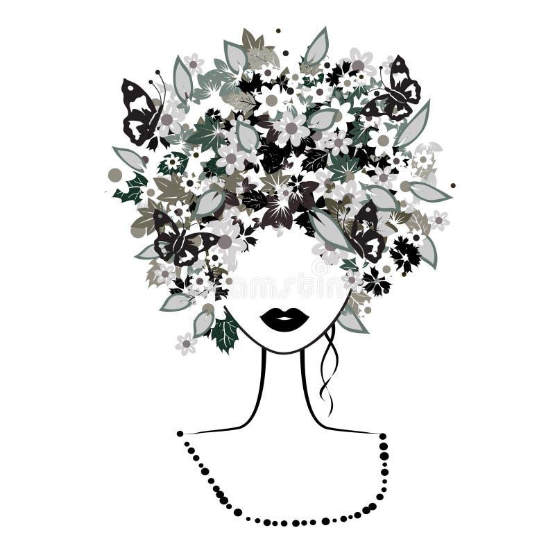 Donna del fronte, acconciatura floreale illustrazione di stock