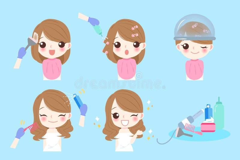 Donna del fumetto con il salone di capelli royalty illustrazione gratis