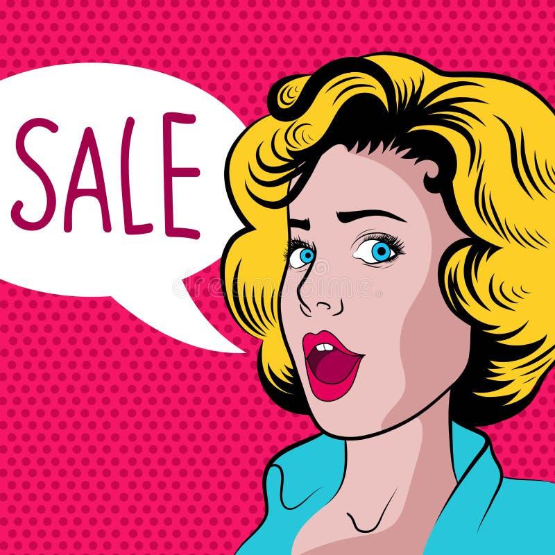Donna del fumetto con l'insegna di vendita illustrazione di stock