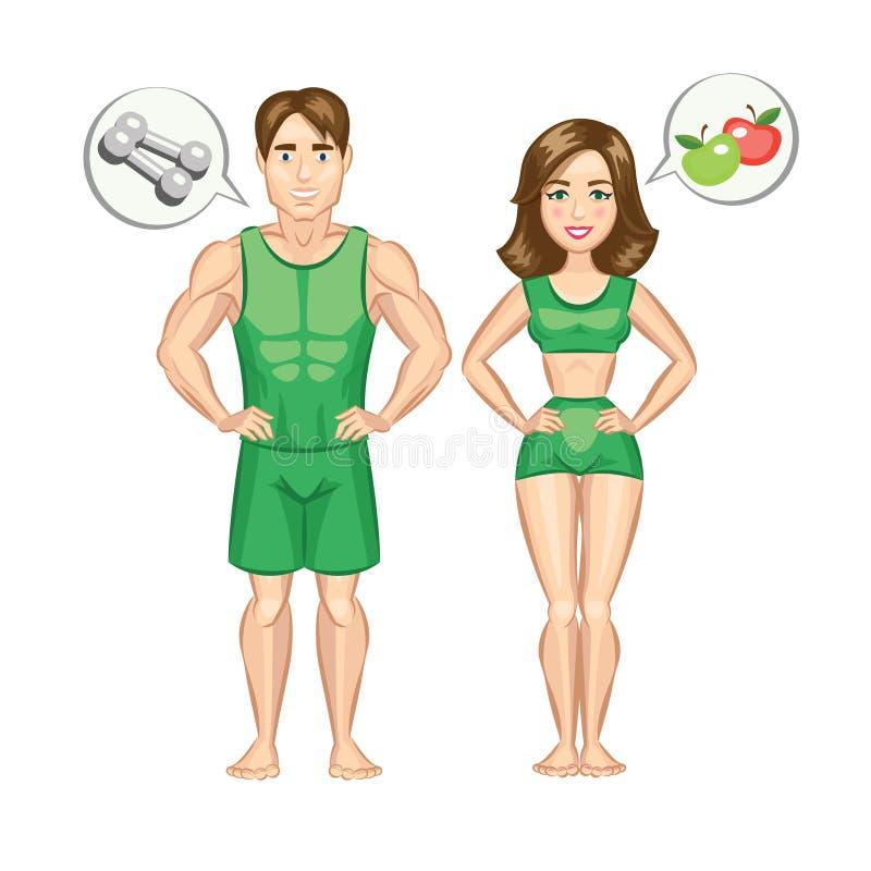 Donna del fumetto ed uomo in buona salute e sportivi illustrazione vettoriale