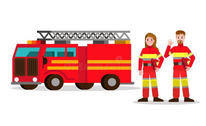 Donna del fuoco e del vigile del fuoco sui precedenti dell'automobile di servizio Florida illustrazione vettoriale